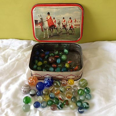 Lot Of Colourful Vintage Marbles With Vintage Tin
