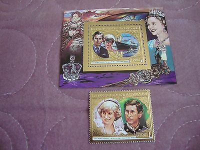 Wedding 1981 Charles & Diana Central African Republic gold stamp, Souvenir Sheet