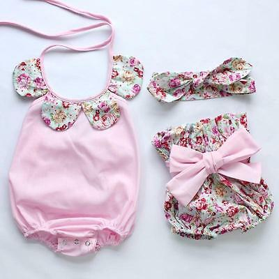 Pink Baby Girls Floral Romper Bodysuit Jumpsuit+Shorts Outfits Set 12-18M RP04