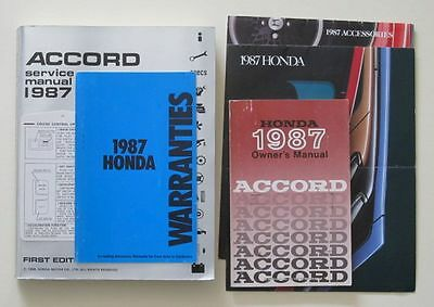 1987 Honda Accord Owner's and Service Manuals etc