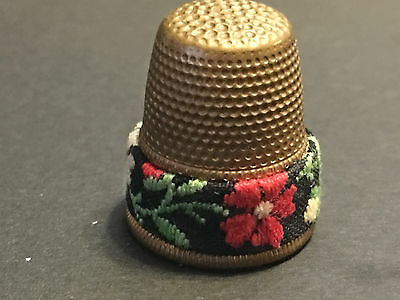 Thimble Sewing Beautiful Petit Point Heavy Band Austria-Hubbard Collection
