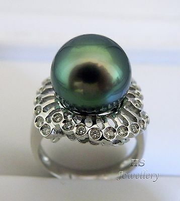 HS Rear Tahitian South Sea Cultured Pearl 12.89m, Diamond .507ctw 18KWG Ring AAA