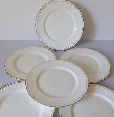 Duchess Ascot Lunch/Salad Plates x 6 White and Gold Weddings etc
