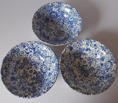Set of Three Grindley Promesse Dessert/Cereal Bowls - Cobalt Chintz Style