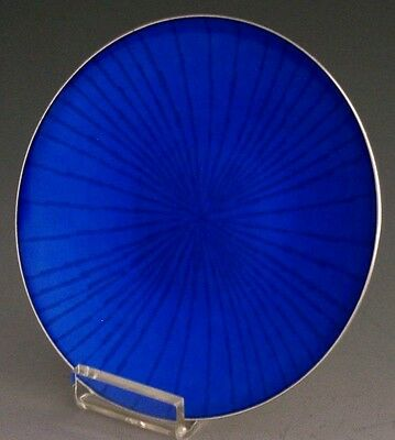 Superb Norwegian Modernist Sterling Silver Blue Guilloche Enamel Dish