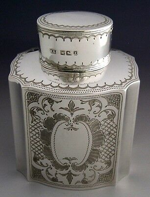 Beautiful English Victorian Sterling Silver Tea Caddy Canister 1892 Antique