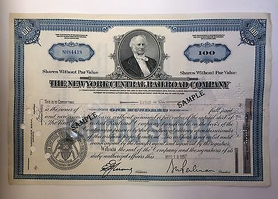 New York Central Railway Company 100 Shares Stock Certificate 1957
