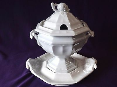 1860's Grape  Iron Stone All White 3Pc. Covered Sauce W/ Under Plate