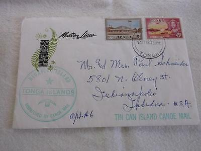 Tonga 1966 Cover To Usa Tin Can Island Canoe Mail W/note On Tin Can History   Rs