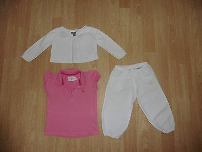 Baby girl 3pc set H&M top,trousers and GAP white cardigan/bolero age12-18 months
