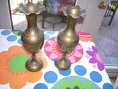 "Pair of Vintage Decorative Brass Vases Engraved 10"" Tall Fluted Top Floral"