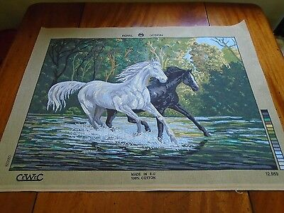 printed TAPESTRY CANVAS. Black and white horses .CeWeC