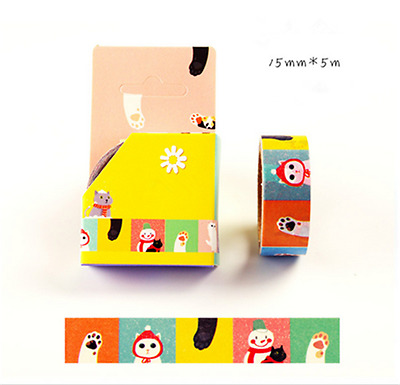 NEW Design 15mm×5M DIY paper Sticky Adhesive Sticker Decorative Washi Tape