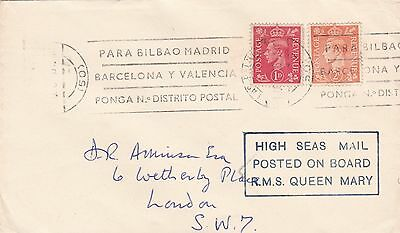 1949 Gb Ship Mail Cover Posted From The Rms Queen Mary In Spanish Waters 28*