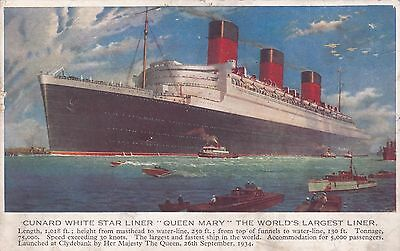 1930s COLOUR POSTCARD OF THE STEAMSHIP S.S. QUEEN MARY UNUSED 27*