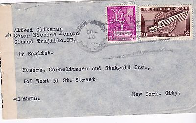 Ww2 1940 Dominicana Opened And Resealed By Censor Registered Cover To Usa 28*