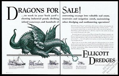 1955 green dragon GREAT art Elicott Dredge vintage print ad