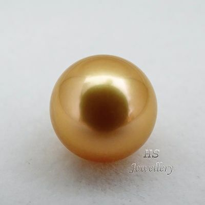 HS Rare Round Loose Golden South Sea Cultured Pearl Huge 12.88mm Top Grading