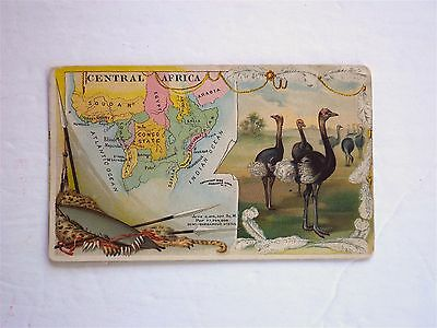 1889 Victorian Trade Card No 63 Arbuckle Bros. Coffee Central Africa Map Ostrich