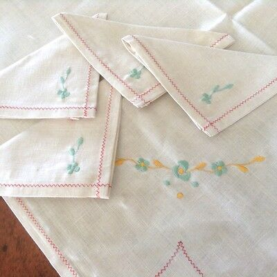 Irish Linen Tea Tablecloth & Napkin Set, Original Folds/Label, Embroidery