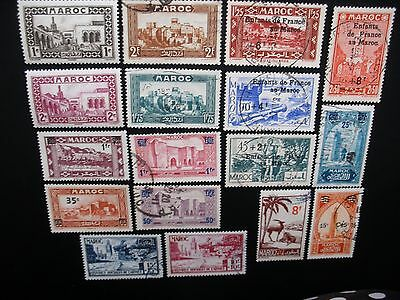 French Morocco-1917/50 Collection, 42 Different Stamps Used, MLH