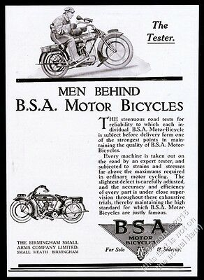 1919 BSA B.S.A. Motor Bicycle motorcycle illustrated UK vintage print ad