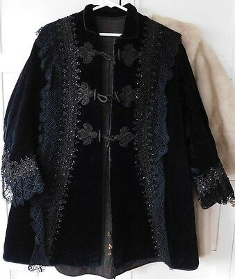 Antique Velvet Jacket beaded silk 1890's era Victorian for bustle dress
