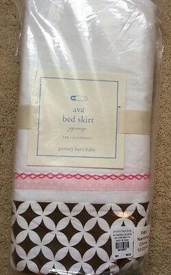 NIP Pottery Barn Kids Baby Pink & Brown AVA MOD Nursery Crib Bed Skirt