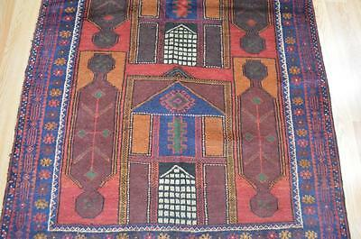 3'7x6'6 Authentic Balouch Turkoman Tribal Prayer Hand Knotted Oriental Wool Rug