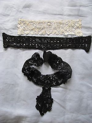 Antique Lace High Neck Collars Victorian 2 Black 1 Cream Steampunk Goth Costume