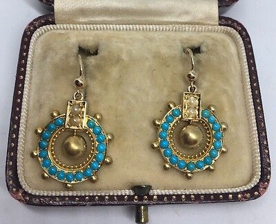 Victorian Antique Yellow Gold Ornate Large Earrings Turquoise Pearl Ball