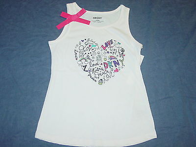 NEW NWT Girls Tank Top by DKNY - Sz Large or 12 - LOVE, HEART, PEACE