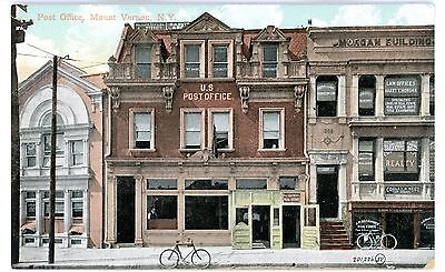 Mount Vernon NY - POST OFFICE BUILDING - Postcard MT Early Bicycle