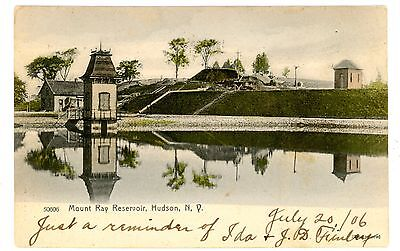 Hudson NY - MOUNT RAY RESERVOIR - Handcolored Postcard Columbia County
