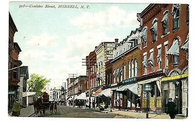 Hornell NY - STORE FRONTS ON CANISTEO STREET - Postcard