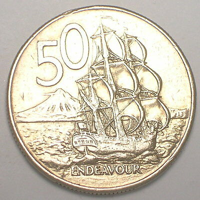 1980 New Zealand 50 Cents Endeavor Warship Coin VF+