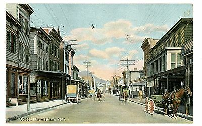 Haverstraw NY -HORSE & CARRIAGES ON MAIN STREET - Postcard  Rockland County