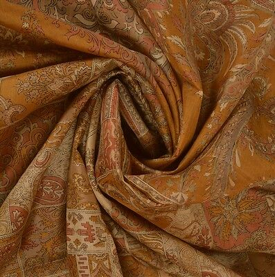 Antique Vintage 100% Pure Silk Saree Saffron Printed Sari Craft Fabric 5 Yard
