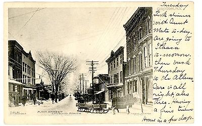 Groton NY - MAIN STREET LOOKING SOUTH IN WINTER- Postcard