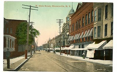 Gloversville NY - NORTH MAIN STREET STORE FRONTS - Postcard