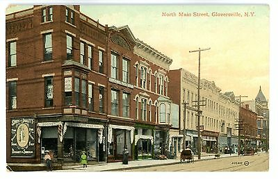 Gloversville NY - NORTH MAIN STREET FROM SHOE STORE - Postcard