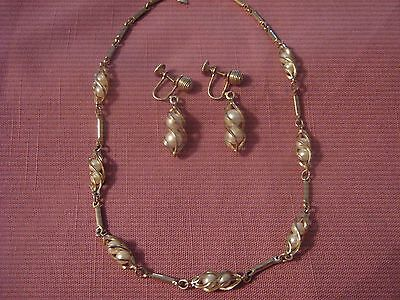 "Sarah Coventry Demi ~ Necklace & Earring Set ~ ""Twirling Pearls"" ~ 1962"