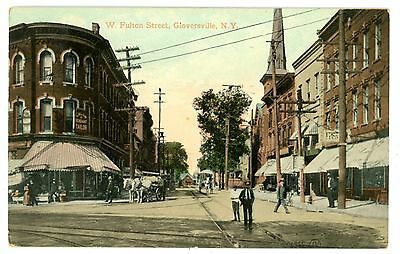 Gloversville NY - WEST FULTON STREET STORE FRONTS - Postcard