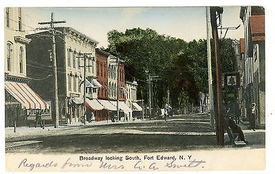 Fort Edward NY - BOARDWAY LOOKING SOUTH - Handcolored Postcard