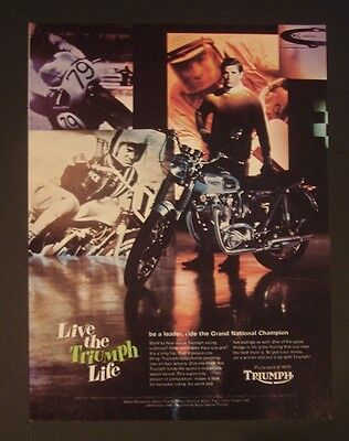 Triumph motorcycle bike Lively Life ad poster/print/gift 1966 1967 1968 guy