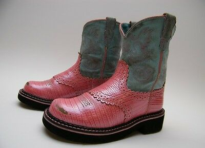 Little Girls Kids Youth Ariat Fatbaby Pink Leather Cowboy Western Boots Sz 12.5
