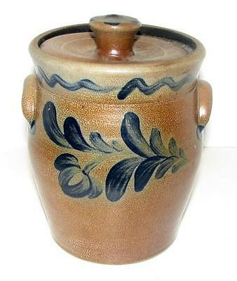 "Rowe Pottery Works 2001 Lidded Crock/Canister 6 1/2"" H/Leaf Design"