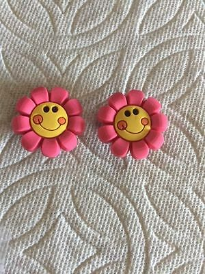 Set Of 2 Pink Smiley Flower Shoe Charms Fits Crocs  2 Flower Smiley Clog Charms