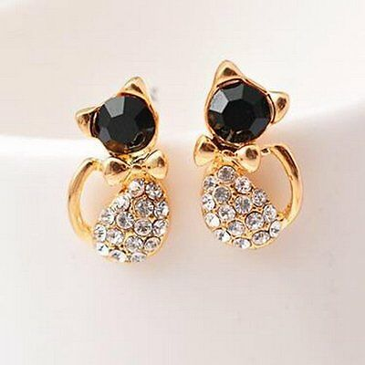 Hot Womens Crystal Gold Cats Shape Ear Stud Earrings Jewelry Wedding Party Gifts