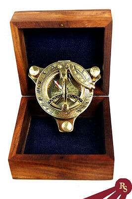 "3"" BRASS SUNDIAL - Wood Box - NAUTICAL DISPLAY COMPASS"